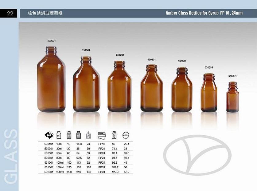 Amber glass bottle for syrup DIN PP 24MM 1