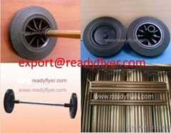 Wheelie bin wheel and axle for mobile garbage bin container