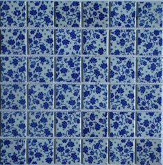 Ceramic Mosaic of blue and white porcelain