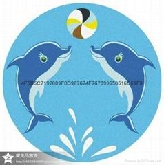 厂家直供陶瓷马赛克拼图游泳池砖海豚