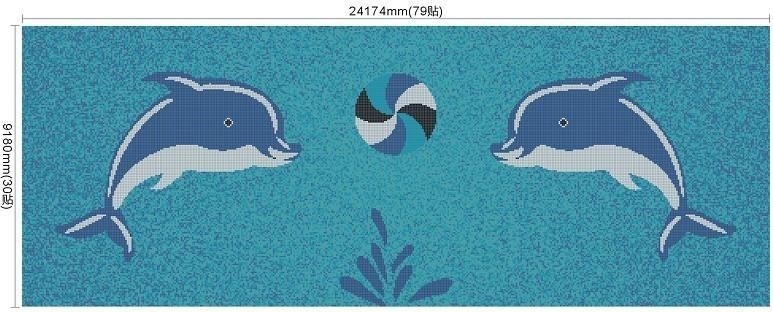 厂家直供陶瓷马赛克拼图游泳池砖海豚 2