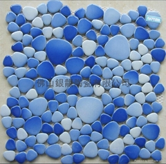 廠家直供自由石仿鵝卵石游泳池陶瓷馬賽克公園石
