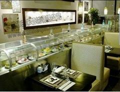 三禾国际带玻璃罩回转寿司输送设备