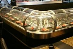 三禾国际带玻璃罩回转寿司输送线