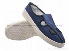 LINKWORLD防静电蓝色帆布四眼工作鞋子