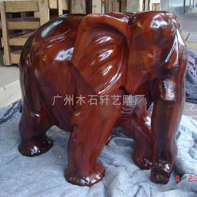 紅木雕大象 2