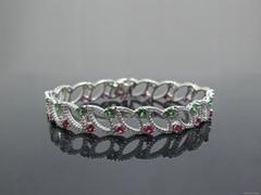 925银手链镶人工宝石