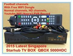 新加坡专用星河高清机顶盒QBOX5000HDC Black Box能看 BPL & 高清频道和World Cup