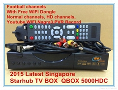 2015 singapore starhub tv box  QBOX5000HDC QBOX4000HDC Black box  support BPL HD