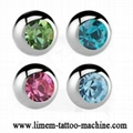 Piercing Jewelry ball with stone 316L