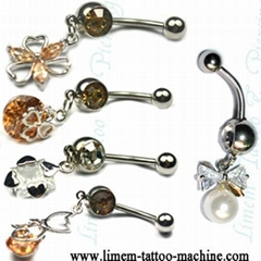 Piercing Jewelry banana navel bell with Gem Stone Charm 316L surgical steel