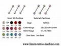 Piercing Jewelry Barbell With Stones 316L Surgical Steel