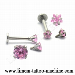 piercing jewelry labret with crystal 316L Stainless Steel