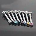 stone crystal internal thread Labret Bioplastic 316L Surgical steel tifanni ball