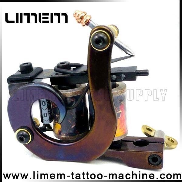Handmade Iron Professional Tattoo Machine 10 Wrap Coils