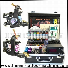 Professional Tattoo Kit Wit Liner and Shader Tattoo Machines 7 Color Inks