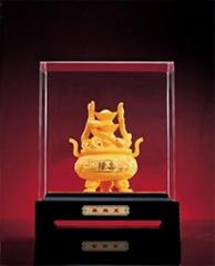 铸铜工艺品电铸绒沙金人寿聚宝盆