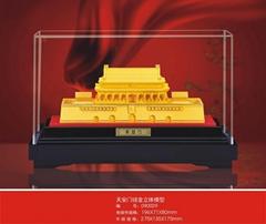 铸铜电铸绒沙金建国六十周年纪念品