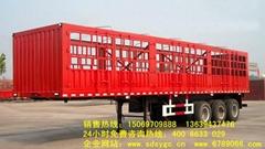 13米三桥鹅颈式仓栅式半挂车