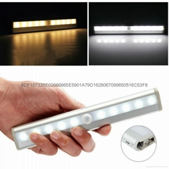 10 LED Wireless PIR Motion Sensor   Induction Lamp Night Lights For Hotel Closet