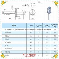 臺灣億光原裝正品940NM紅外線發射管插件式發射器5MM紅外發射探頭IR333-A
