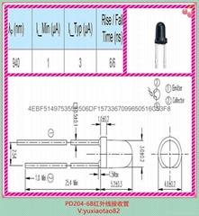 台湾亿光原装正品插件式高灵敏3MM光敏接收管PD204-6B