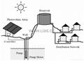 太阳能光伏自动泵水系统,主要由光伏专用泵水逆变器、水泵、太阳能电池阵列组成,广泛适用于生活用水、农业灌溉、沙漠治理、草原畜牧、海鸟供水