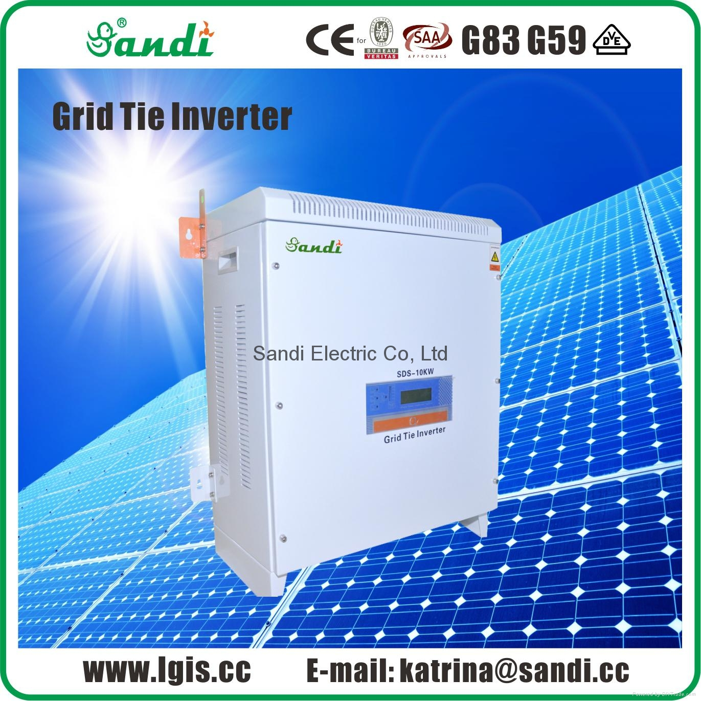 10KW PV grid tie power inverter with 3 phase 220VAC
