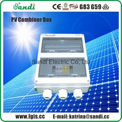 Solar combiner box 4 in 1 out with lightning protection, IP65 protection class