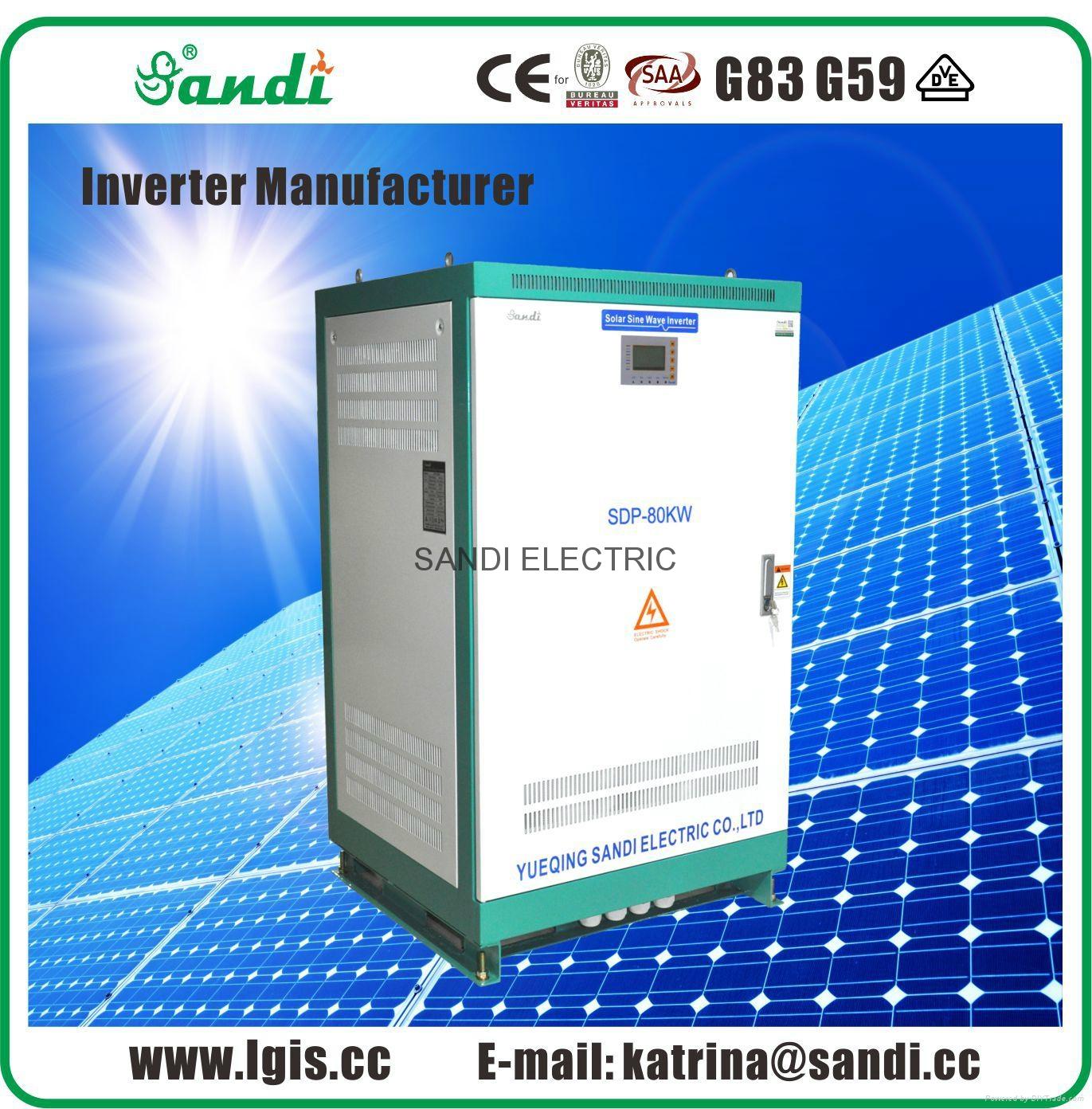 80kw 480V 3 phase off grid solar inverter with RS485