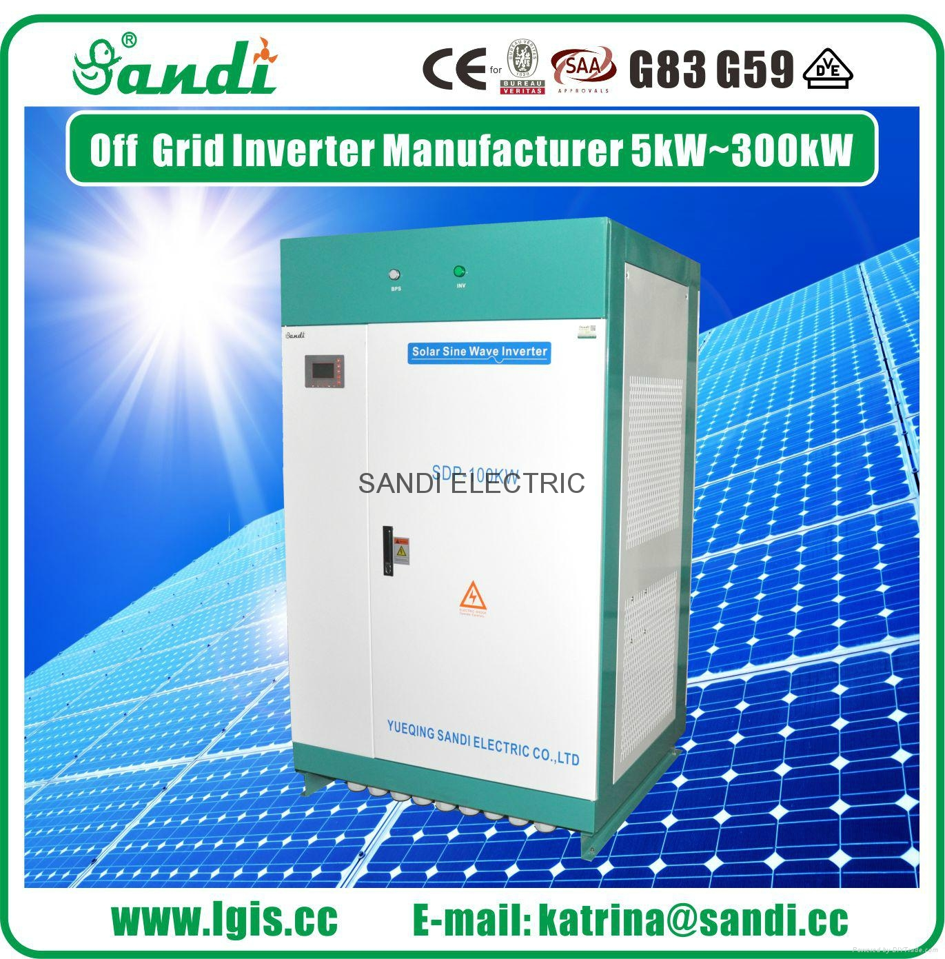 100KW off grid solar power inverter with AC bypass function