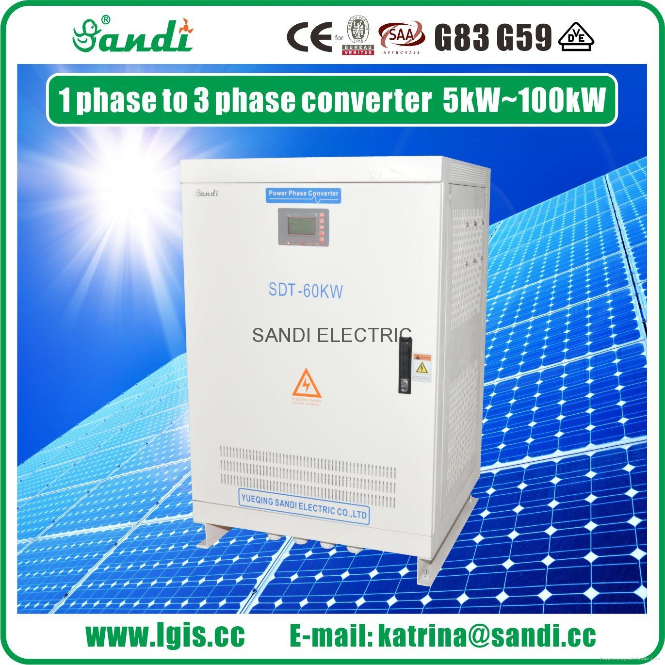60kW Digital Phase Converter 220VAC single phase to 380VAC three phase converter