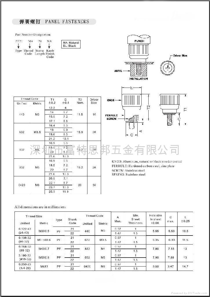 壓鉚式彈簧螺釘PF21 PF22 2