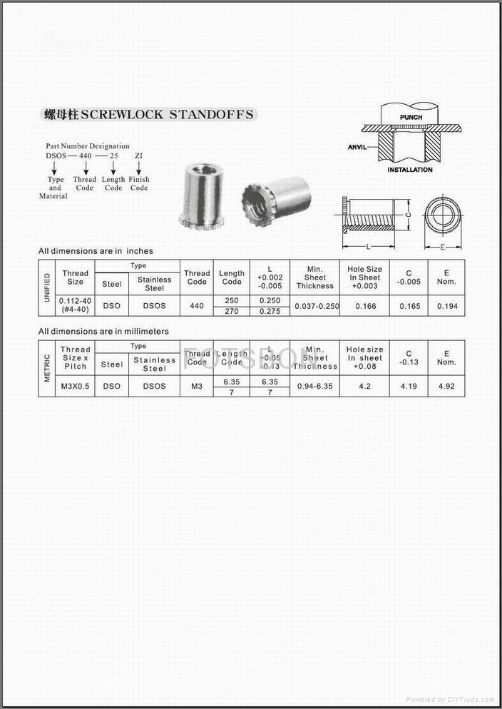 壓鉚螺母柱 DSO DSOS 2