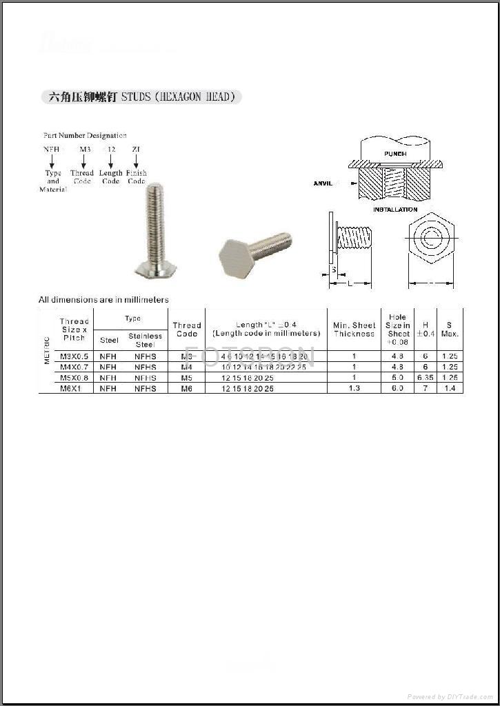 六角頭壓鉚螺釘NFH  NFHS 3