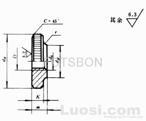 滾花薄螺母GB/T807-1988 1