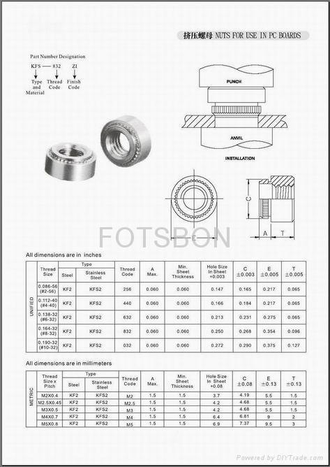 現貨供應擠壓螺母KF2-M2 KF2-M2.5 KF2-M3 2