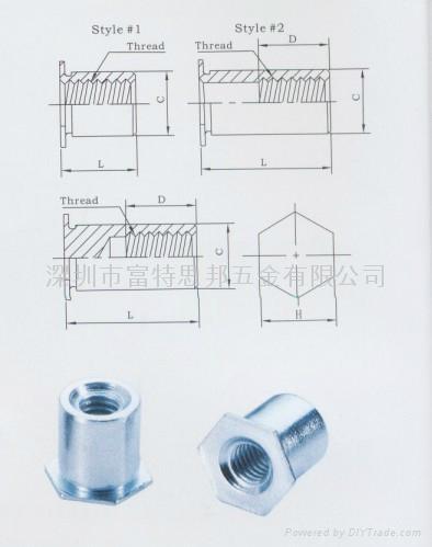 TSO-6M3-300通孔压铆螺母柱 1
