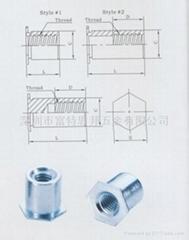 TSO-6M3-300通孔压铆螺母柱