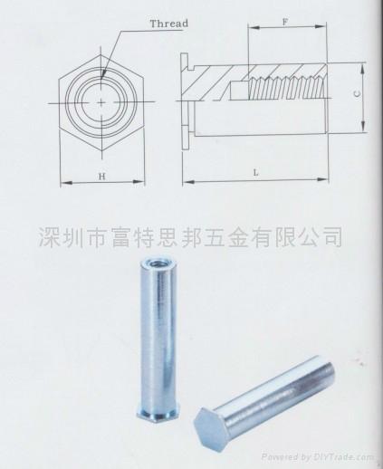 BSO4-M4-25不锈铁压铆螺母柱SO4