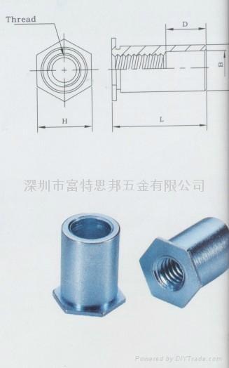 SO-M3-16通孔压铆螺母柱,碳钢镀锌, 厂家发货,现货 2