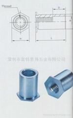 SOA-632-10鋁壓鉚螺母柱 ,通孔,英制,鋁本色,可以