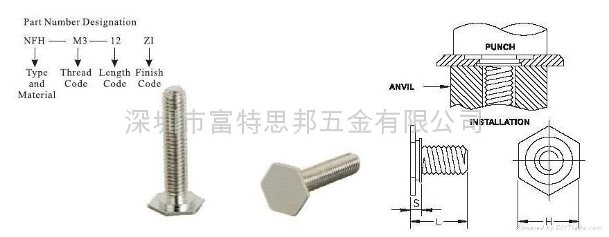 NFHS-M6-10六角頭壓鉚螺釘NFH  NFHS 1
