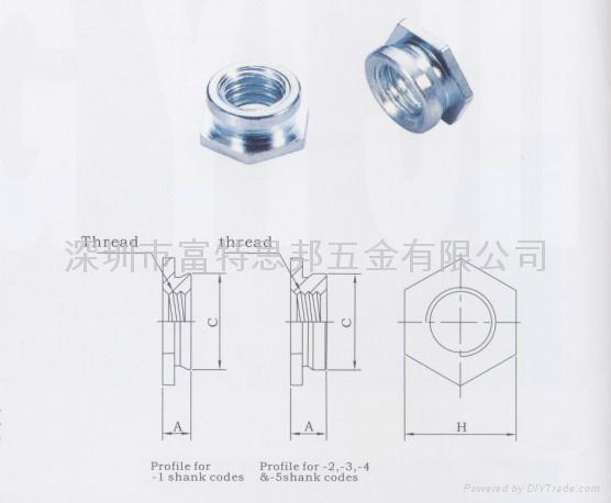 鑲入螺母|齊平螺母|壓鉚螺母F|鑲入螺母F|齊平螺母F 2