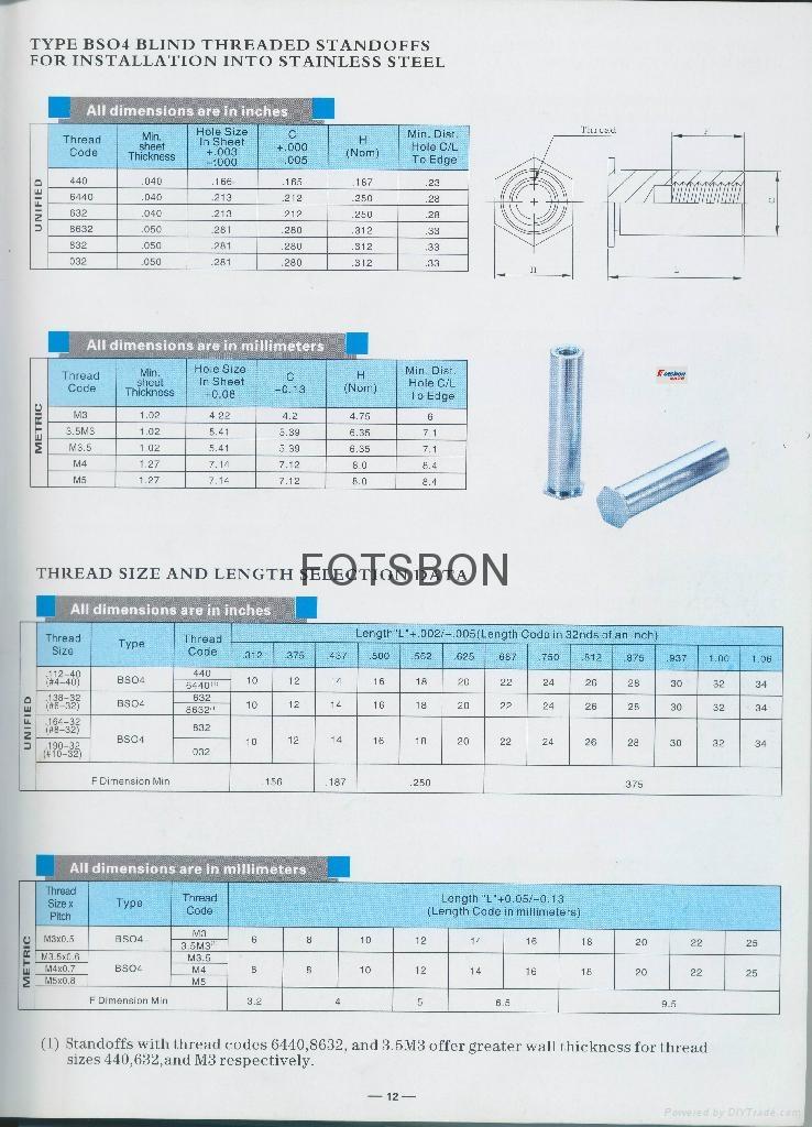 BSO4-M4-25不锈铁压铆螺母柱SO4 4
