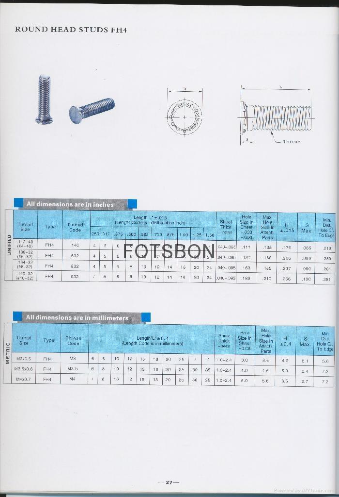 不鏽鐵壓鉚螺釘FH4  6