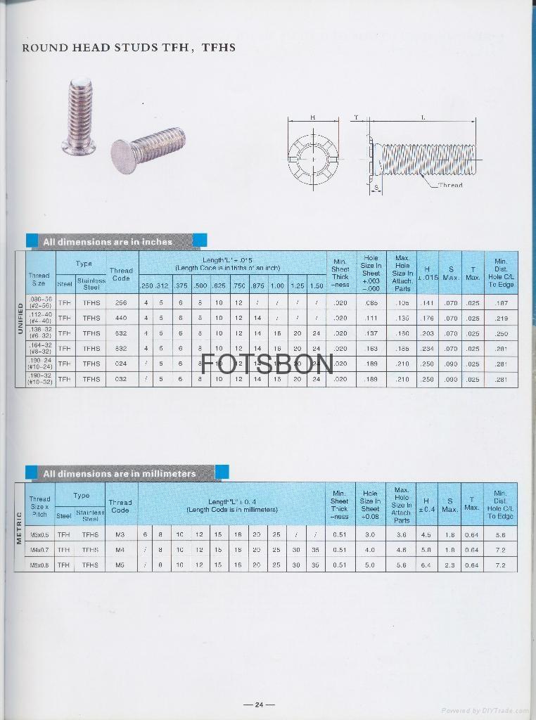 TFH-632-6薄頭壓鉚螺釘TFH TFHS  2