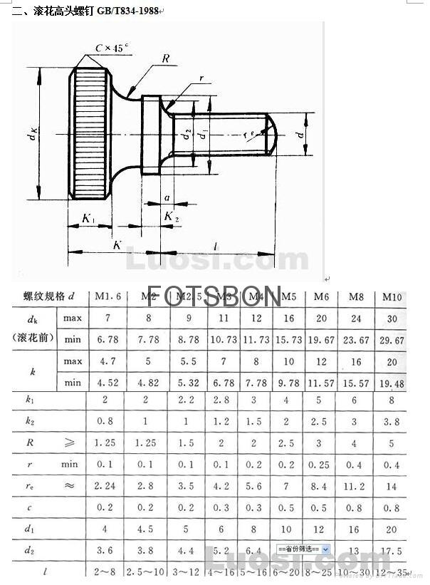 滚花高头螺钉GB/T834-1988 4