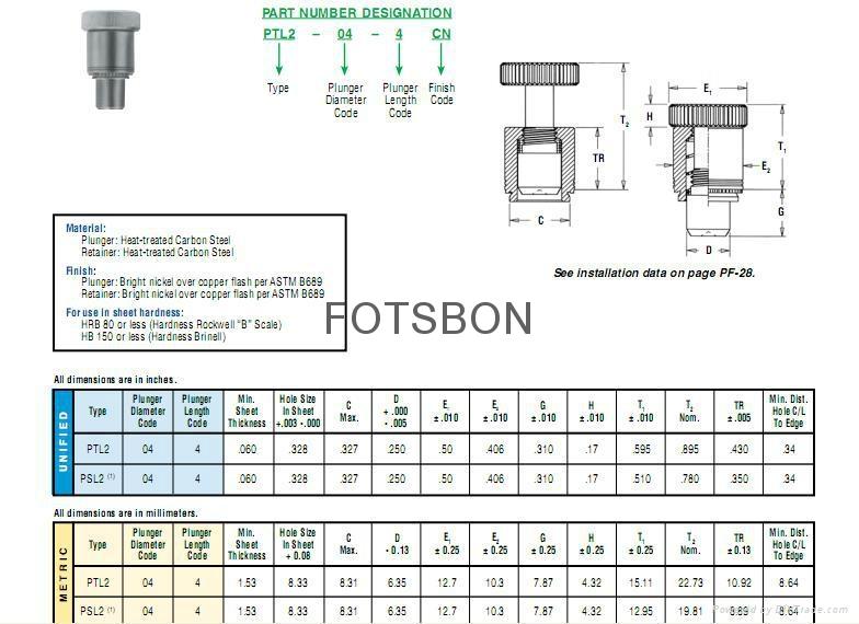 彈簧銷P PTL2-04-4   P PSL2-04-4 1