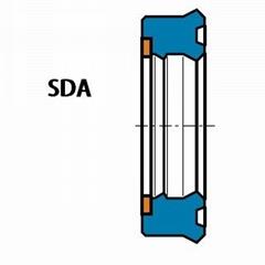 活塞杆(轴)用 SDA型 聚氨酯 带挡圈双唇挤压密封